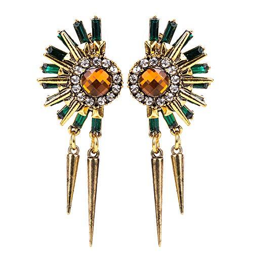 SHANGZHIQIN Exquisitos aretes egipcios de la Flor de la Piedra Preciosa de la Flor del Sol Egipcio Pendientes de la Moda de Las Mujeres, Pendientes de la Borla Tachonada de la aleación Verde