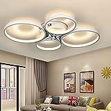 Lingkai Lámpara LED de techo regulable, 4 círculos, 40 W, araña con mando a...