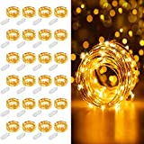 MUMUXI 24 Pack Fairy Lights Battery Operated, 7.2ft 20 LED Mini Waterproof String Lights Copper Wire Firefly Starry Lights for Wedding Party Mason Jars Crafts Christmas Decor, Warm White