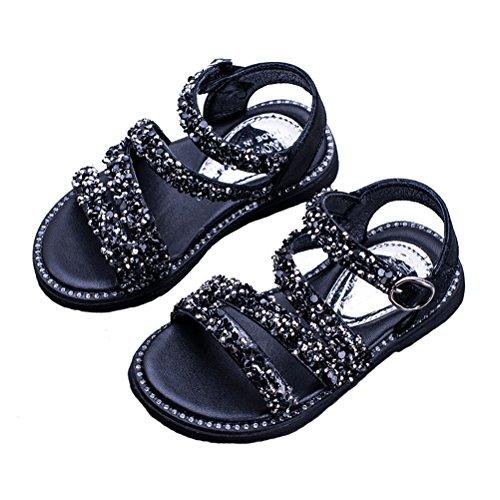 CCZZ open sandalen voor meisjes, modieus, baby, meisjes, zomerschoenen, pailletten, kristal, diamanten, meisjes, prinsessenschoenen, outdoor, antislip, strandschoenen, klittenbandsluiting, kinderschoenen, maat 21-37