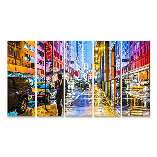 islandburner Cuadro en Lienzo Un Viajero de Nueva York Mojado, Colorido y Elegante con un Paraguas Cuadros Modernos Decoracion Impresión Salon
