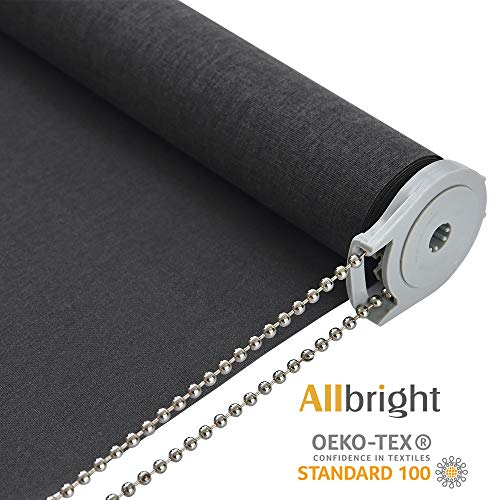 ALLBRIGHT Light Filtering Roller Shades, Classic Privacy Room Darkening Roller Blinds,Easy Installation for Home and Office Windows (27 x 72 inches, Grey)