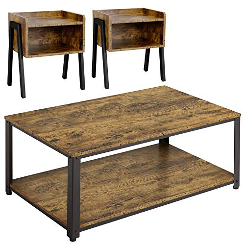 Yaheetech Industrial Living Room 3-Piece Table Sets - Includes Coffee Table & Two End Sofa Side Tables, Wood Home Accent Furniture, Easy Assembly, Rustic Brown
