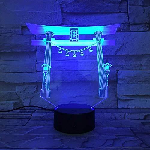 3D Ilusión lámpara de proyección lámpara Santuarios japoneses en Japón Gift Darling In The Best Birthday Holiday Gifts For Children Con interfaz USB, cambio de color colorido