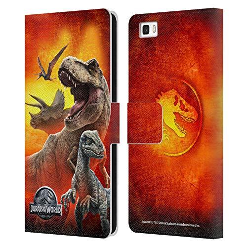 Head Case Designs sous Licence Officielle Jurassic World Dinosaures Art Clé Coque en Cuir à Portefeuille Compatible avec Huawei P8lite / ALE-L21
