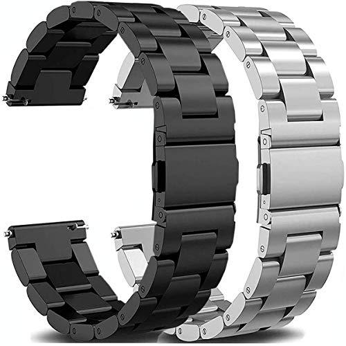 OTOPO für Galaxy Watch Active 2 40mm 44mm Armband Metall Frauen Männer, 20mm Metallarmband Armband Edelstahl Uhrenarmband Ersatz für Samsung Galaxy Watch Active2 Smartwatch