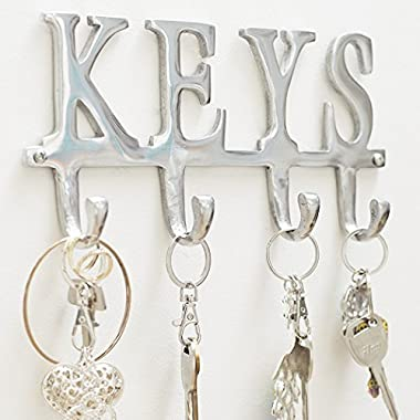 "Comfify Key Holder ""Keys"" – Wall Mounted Key Holder - 4 Key Hooks Rack - Decorative Cast Aluminum Key Rack - Polished Finish - with Screws and Anchors (Keys AL-1507-20)"