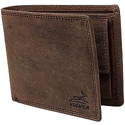Schlanke Echtleder-Geldbörse besonders bequem einfach und extra stabil #Easycomfort (Braun)