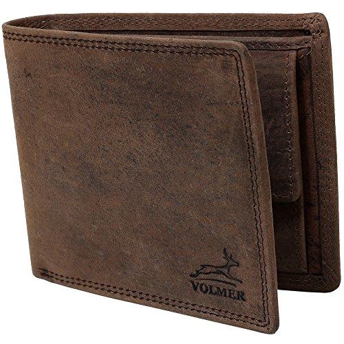 Fa.Volmer Echtleder Geldbörse - Büffelleder - schwarz - Portemonnaie Herren - RFID-Schutz - Triffold - Ledergeldbörse mit Münzfach - 4 Varianten