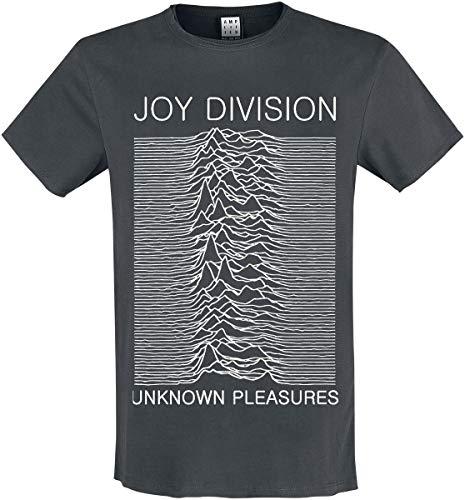 Amplified Joy Division-Unknown Pleasures Camiseta, Gris (Charcoal CC), S para Hombre