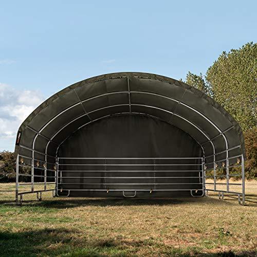 TOOLPORT Robustes Weidezelt 6x6 m feuersicher 720 g/m² PVC Plane Unterstand für Pferde Offenstall Stall, für Betonboden, grün - 2