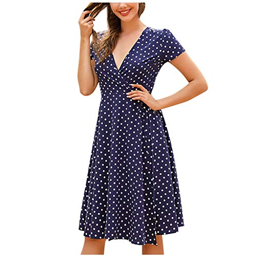 Damen Kurzarm Kleid, Frauen Casual Kleid V-Ausschnitt A-Linie Kurzarm Sommerkleider Polka Dot RüSchen Mini Freizeitkleider High Waist Elegant Kurze Strandkleid