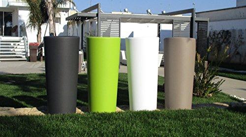 Veca Vaso Colore Bianco CLOU Rotondo Alto H 85 X 38 Cache-Pot Estraibile