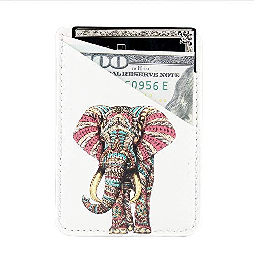 Phone Card Holder uCOLOR PU Leather Wallet Pocket Credit Card ID Case Pouch 3M Adhesive Sticker on iPhone Samsung Galaxy Android Smartphones(fit for 4.7 Phone or Above) (Elephant)