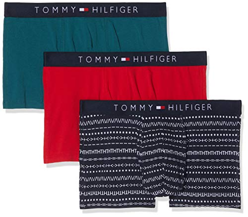 Tommy Hilfiger Herren 3P Trunk Text Boxershorts, Rosa (Navy/Tango Red/Atlantic Deep 067), Small (3er Pack)