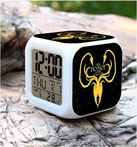 HHIAK666 Juego De Tronos 7 Reloj Despertador para Colorear, Reloj De Luz De La Noche Creativa del Estudiante, Reloj Electrónico Silencioso 8Cm 3