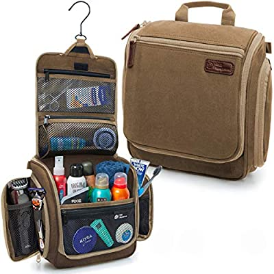 D&D Hanging Toiletry Bag - Designer Travel Organizer for Makeup and Toiletries for Men and Women - Hang Case for Cosmetics and Toilet Accessories with Metal Swivel Hook