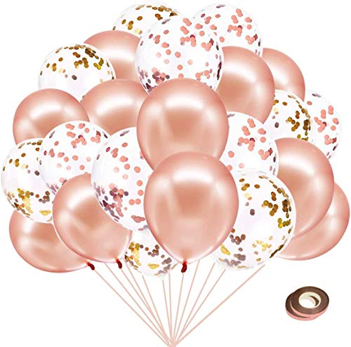Set di 40 palloncini in lattice con coriandoli da 30 cm, per matrimoni, compleanni e feste di fidanzamento, anniversario, laurea, addio al nubilato, 40 pezzi