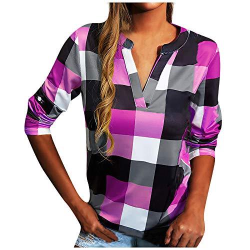Bluse Damen Down Langarm Shirt Hemd Bluse Loose Casual Flanell Tunika