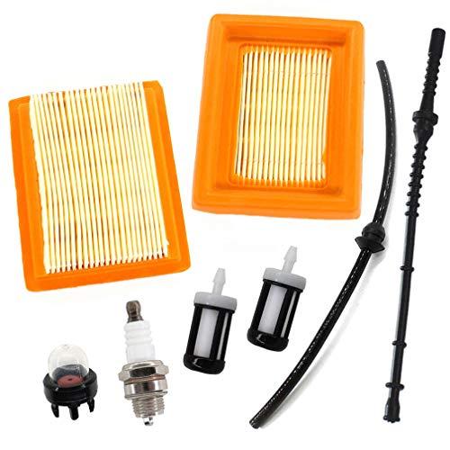 AISEN Lot de 2 filtres à air - Conduite de carburant - Bougie d'allumage - Filtre à essence - Pour débroussailleuse Stihl FS120 FS200 FS250 FS300 FS350 FS400 FS450
