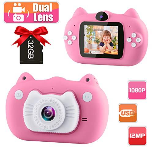 GKTZ Kinder Kamera KinderDigital Kamera Kamera Spielzeug mit Dual Lens für Selfie IPS-Bildschirm 1080P HD 12 Megapixel mit 32 GB TF-Karte 3-10 Jahre Spielzeug Geschenk für Kinder (Pink)