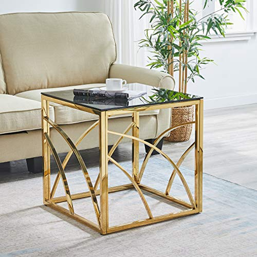 AINPECCA Coffee Table Side table Stainless Steel with Light Grey Tempered Glass End Table Design Living room (Gold, Type 1)