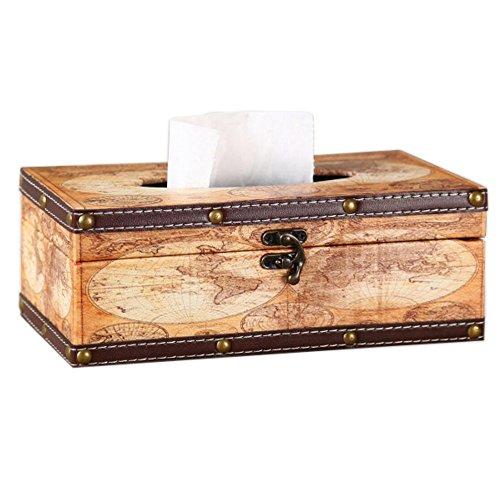 Vintage World Map Wooden Tissue Box Cover Rectangular,Decorative Tissue Box Holder for Home Decor,Kitchen,Bedroom,Living Room