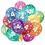 Globo Número 4, Cumpleaños Globos 4 Años, 4 Cumpleaños Decoración Globos Niño,Colores Globos Numeros 4 Fiesta Decoración para Feliz Cumpleaños,30 cm-Paquete de 30