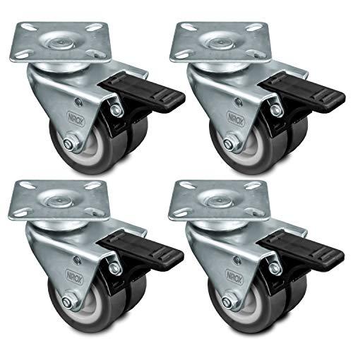 Nirox 4x Transportrollen 50mm - Möbelrollen Räder mit Bremse - Strandkorbrollen Rasen und Sand geeignet - 75mm Gesamthöhe - Lenkrollen für Innen und Außen - Schwerlastrollen bis 400kg