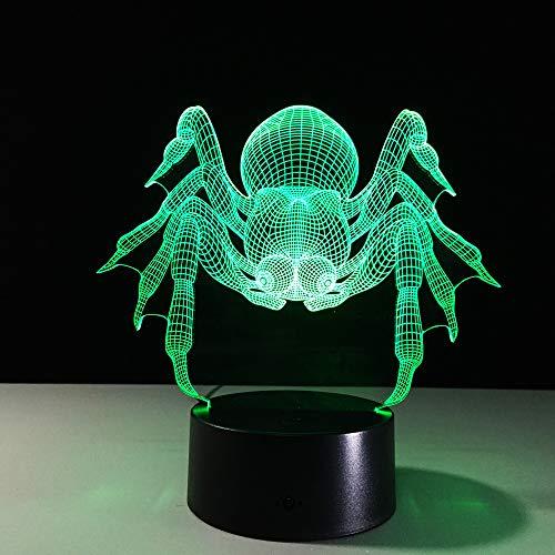 BFMBCHDJ 7 Bunte USB Spinne Form 3D Illusion Lampe Haushalt Schlafzimmer Büro LED Tischlampe Kind Nachtlichter Weihnachtsgeschenke