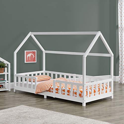 Cama para niños de Madera Pino 90 x 200 cm Cama Infantil con Reja Protectora Forma de casa Casita Blanco Mate Lacado