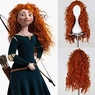 Blue Bird Long Curly Orange Merida Wig Brave Princess Cosplay Red Hair Synthetic Deep Wave Halloween Wigs for Girls Party Show Heat Resistant Fiber