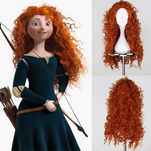 Peluca de pelo largo rizado naranja Mérida para cosplay con pelo sintético de onda profunda para niñas, fibra resistente al calor.