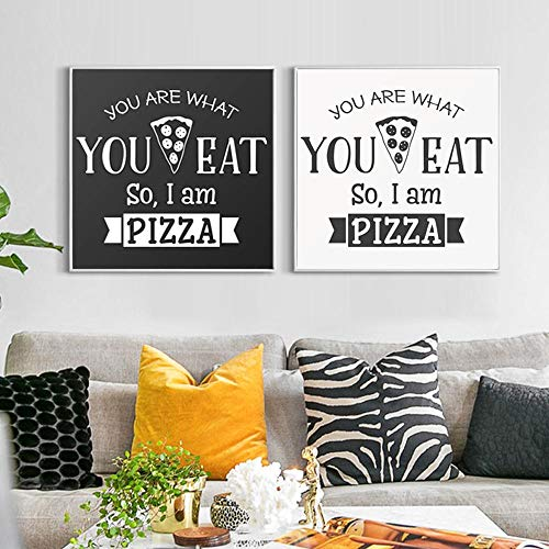 Art Print Moderne Eenvoudige Engels Phrase Voedsel Pizza Patroon Abstract Canvas Schilderij, Home Decor Restaurant Muurfoto Decoratie 50x50cmx2 geen Frame
