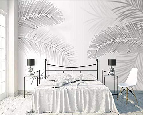 Papel pintado mural gris nórdico planta minimalista hoja de coco palmera sala de estar dormitorio TV fondo fondo de pantalla 3d