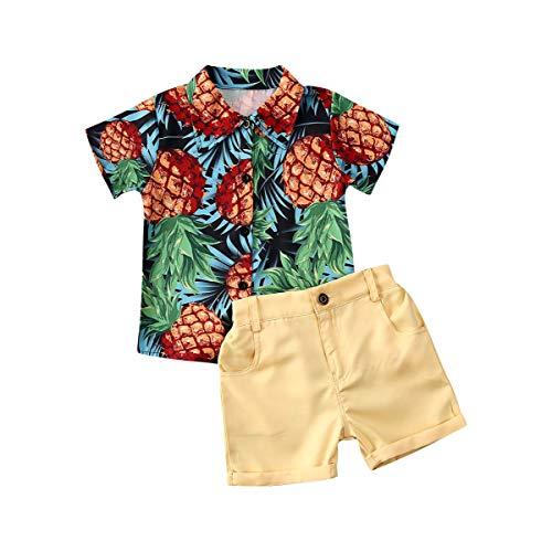 Kleinkinder Baby Jungen Sommerkleidung gestreiftes Oberteil + Hose 2 Stück Gentlemen Outfits Playwear Set - Gelb - 2-3 Jahre
