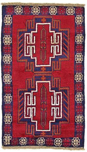 Nain Trading Belutsch 136x79 Orientteppich Teppich Rot Handgeknüpft Afghanistan
