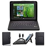 NAUC Tasche Hülle für ODYS Ieos Quad 10 Pro Schutzhülle Tablet Cover Hülle Bag Etui, Modellauswahl:Schwarz mit Bluetooth Tastatur