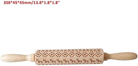 PFJJ Christmas Rolling Pin Laser Wooden Christmas Embossing Rolling Pin Dough Stick Baking Pastry Tool New Year Christmas ...