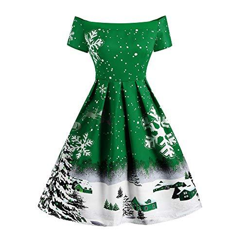 MERICAL Natale Abito Moda Monospalla Manica Corta Natale Fiocco di Neve Stampa Gonna retrò Un Abito Gonna Parola(Verde,X-Large)