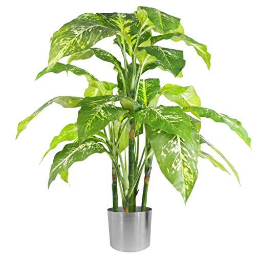 Foglia 65 cm orchidea artificiale fioriera in ceramica, verde e argento, 100 cm