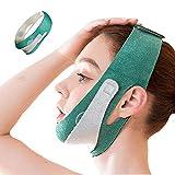 V Line Mask Adjustable Lifting Chin Strap Face Slimming Strap, Double Chin Reducer Face Lifting Belt (Green)