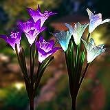 Luces solares de flor de lirio para exterior, luces LED multicolores, luces decorativas para patio trasero, juego de 2