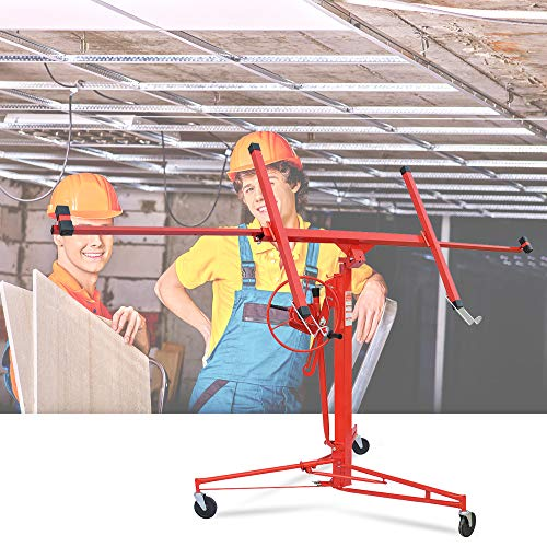Drywall Lift 11FT Heavy Duty Drywall Panel Hoist Professional Jack Lifter Sturdy Rolling Lockable Caster Wheels Lifter Construction Tool, 150LB Capacity, Red