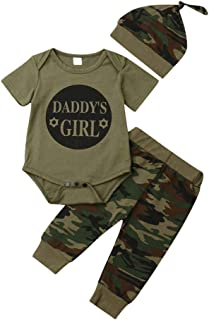 Camouflage Infant Baby Boy Girl Clothes 3Pcs Outfit Set,Short Sleeve Bodysuit Tops+Long Pants+Hat