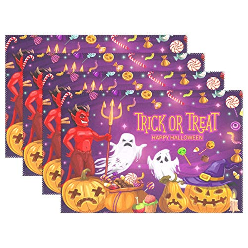 Wamika Halloween Placemats Devil Ghost Pumpkins Table Mats Trick or Treat Non-Slip Placemat Washable Heat Resistant Place Mats for Kitchen Dining Party Decorations 12 X 18 Set of 6