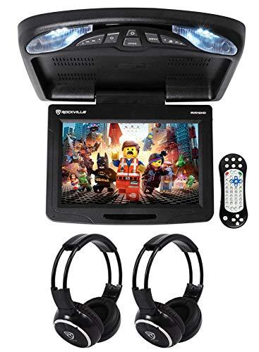 "Rockville RVD12HD-BK 12"" Black Flip Down Monitor DVD Player USB/SD+Headphones"