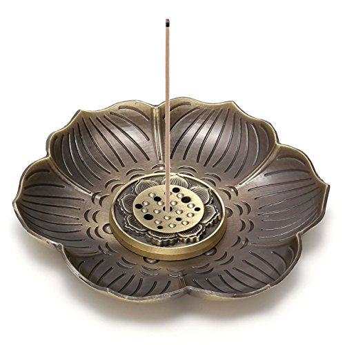 CrystalTears Vintage-Räucherstäbchenhalter in Lotus-Form, mit Aschefänger, 9 Löcher, bronze