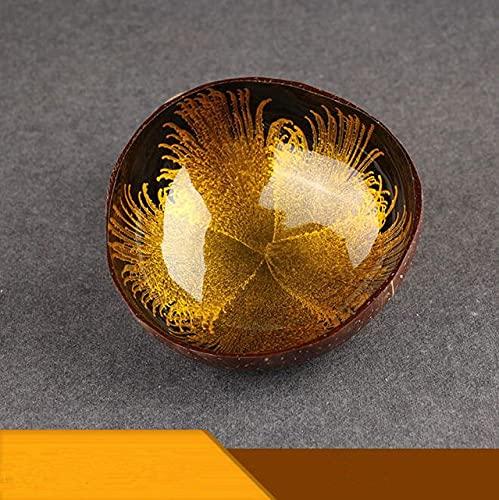 Cuenco de coco natural Decoración Ensalada de frutas Cuenco de arroz Cuenco colorido de madera Decoración artesanal Cuenco creativo de cáscara de coco-F