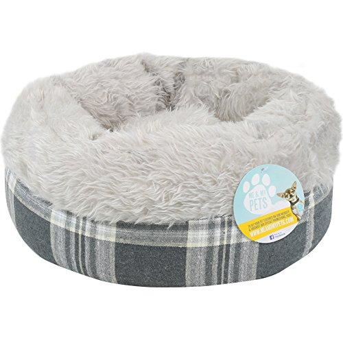 Me & My Pets - Weiches Haustierbett für Katzen, Welpen & kleine Hunde - rund - grau kariert